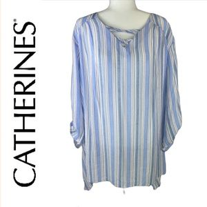 Catherines Blue/White/Red Striped Tunic Top Sz 4X